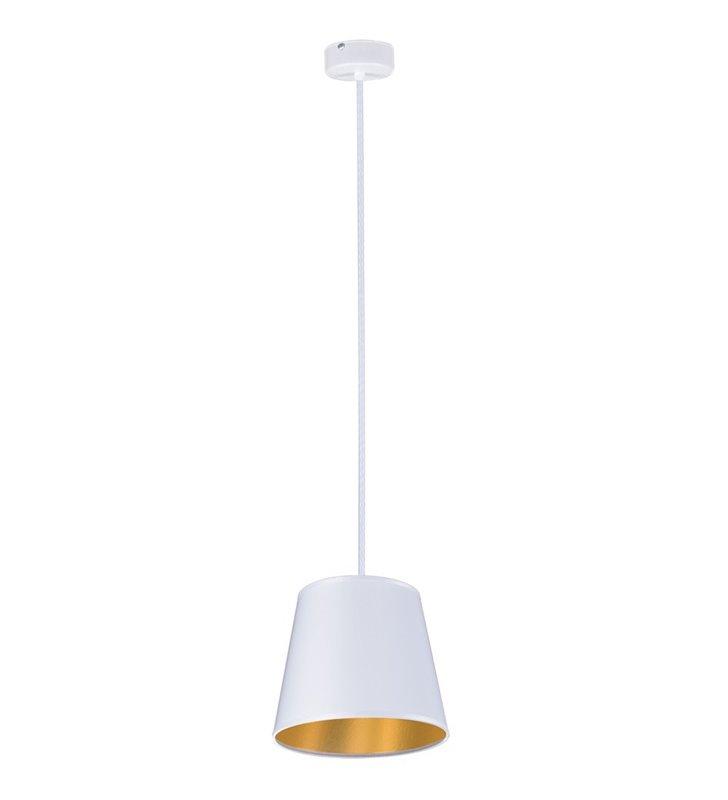Biała lampa wisząca z abażurem Pamela White średnica 20cm
