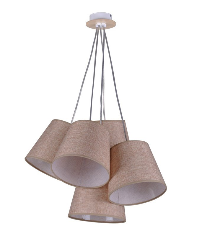 Brązowa 5 punktowa lampa wisząca Event abażury do salonu sypialni jadalni