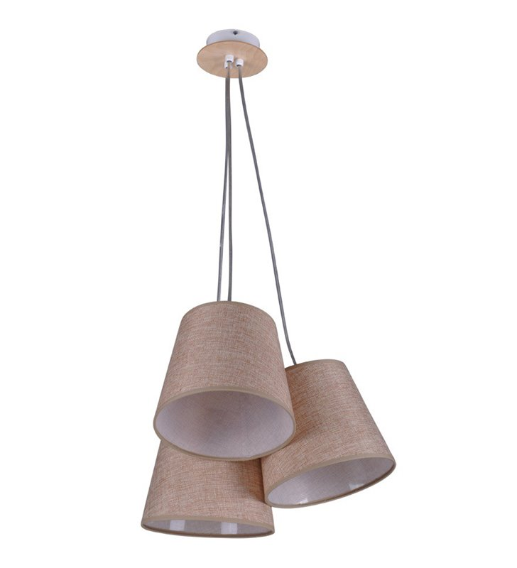 Lampa wisząca Event potrójna brązowe abażury do sypialni salonu jadalni