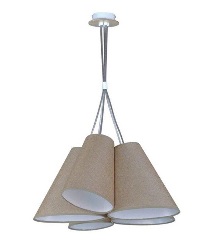 Lampa wisząca Argos Wood brązowa 5 zwisowa asymetryczne abażury