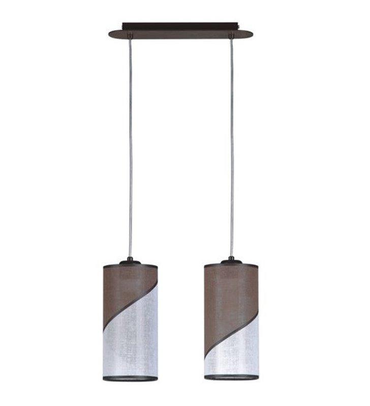 Lampa wisząca Sirocco biało brązowa 2 zwisowa abażury okrągłe dwukolorowe
