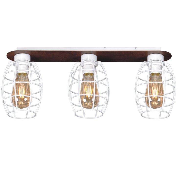Lampa sufitowa Spiro potrójna listwa ze sklejki białe druciane klosze styl loftowy