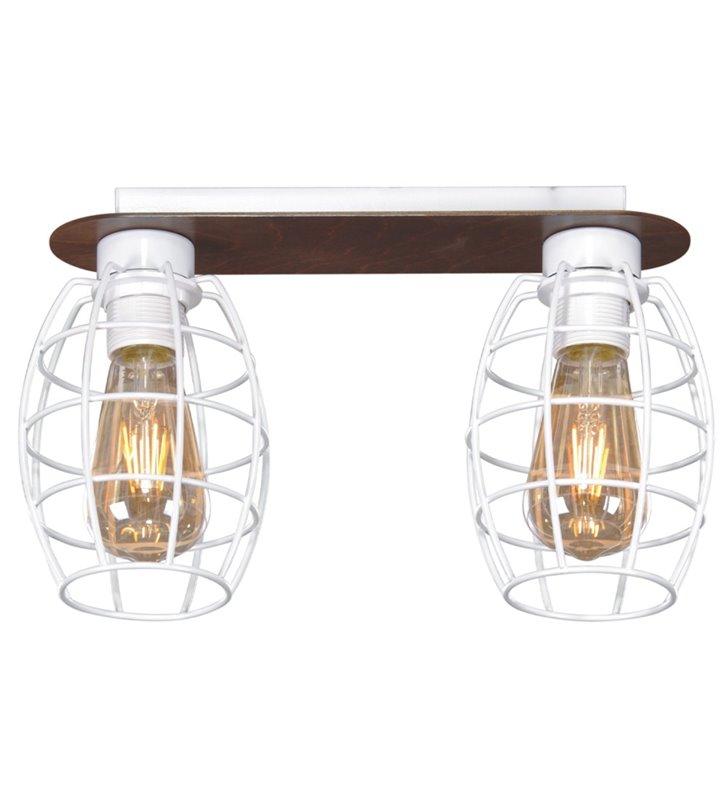 Loftowa 2 punktowa lampa sufitowa z drucianymi białymi kloszami Spiro