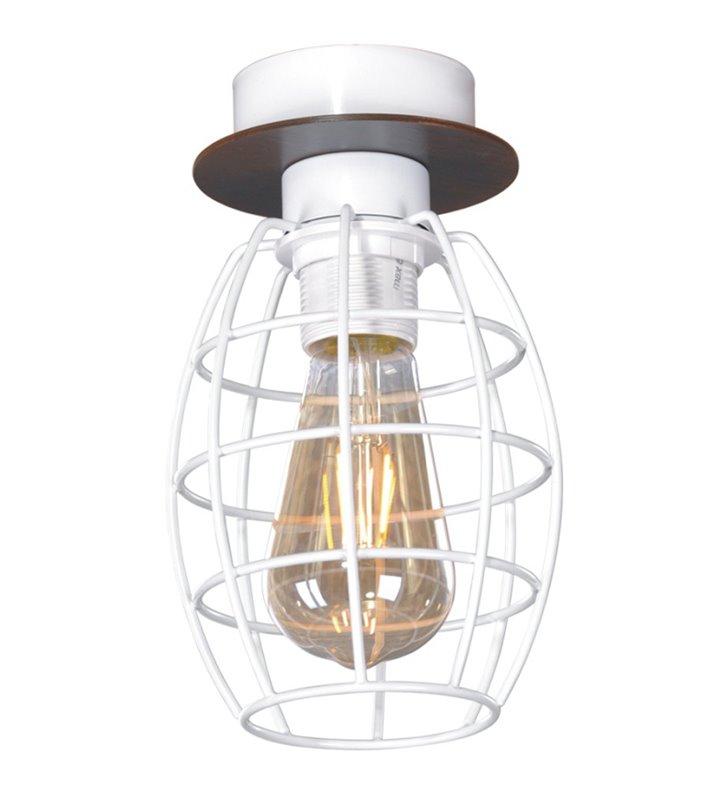 Mała loftowa lampa sufitowa Spiro połączenie drewna z drucianym białym kloszem