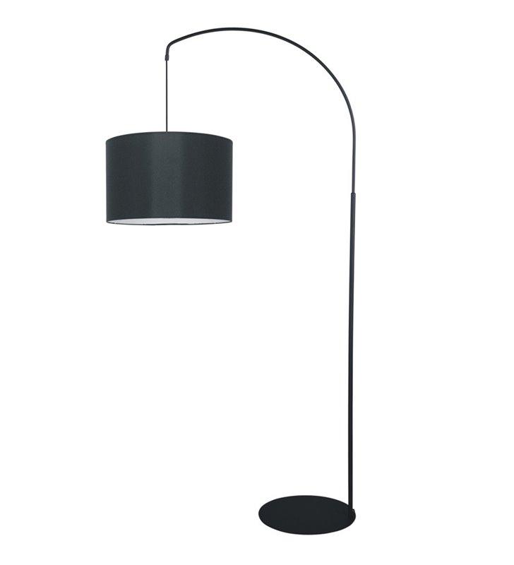 Lampa podłogowa Master czarna z tekstylnym abażurem wysięgnik wysokość 178cm