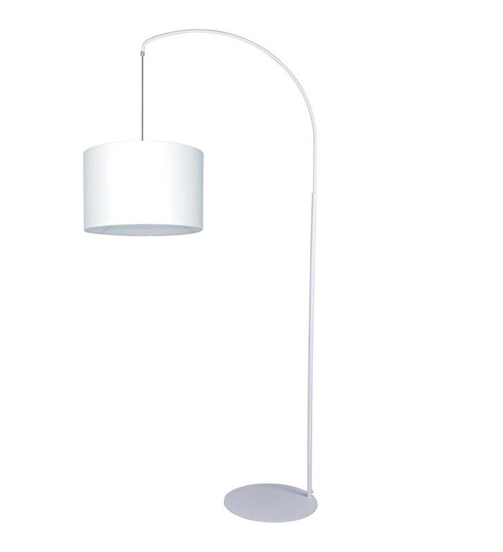 Lampa stojąca z wysięgnikiem Master biała abażur materiałowy do salonu sypialni jadalni