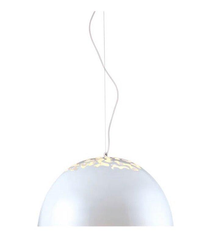Forgi biała kopułkowa lampa zwisająca z ażurową górą klosza średnica 40cm