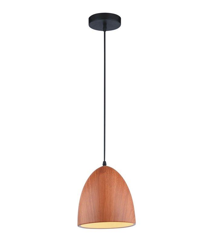 Mała metalowa lampa wisząca Forge klosz jak z drewna