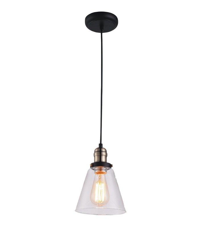 Lampa wisząca Samanta w stylu vintage bezbarwny szklany klosz