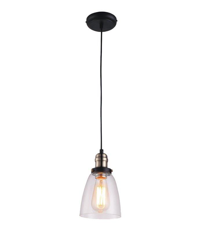 Lampa wisząca Samanta z bezbarwnym szklanym kloszem styl vintage
