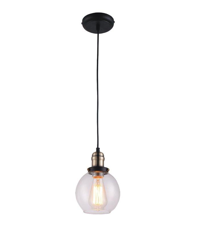 Pękata nowoczesna lampa wisząca Samanta z bezbarwnym szklanym kloszem styl vintage