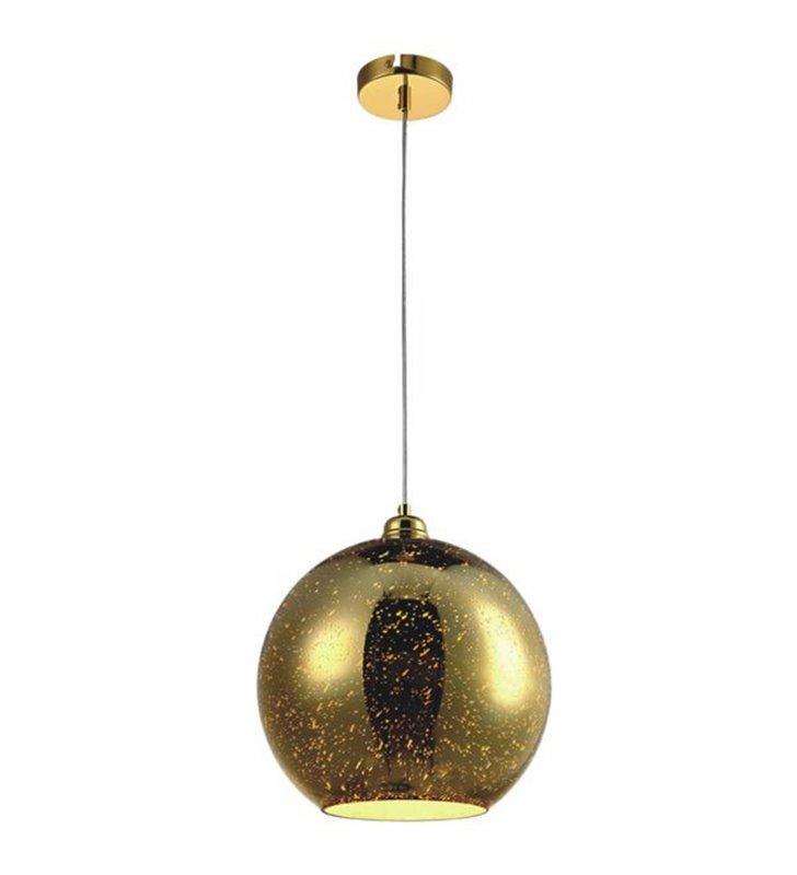 Lampa wisząca Galaxy II szklana kula średnica 25cm kolor złoty efekt 3D