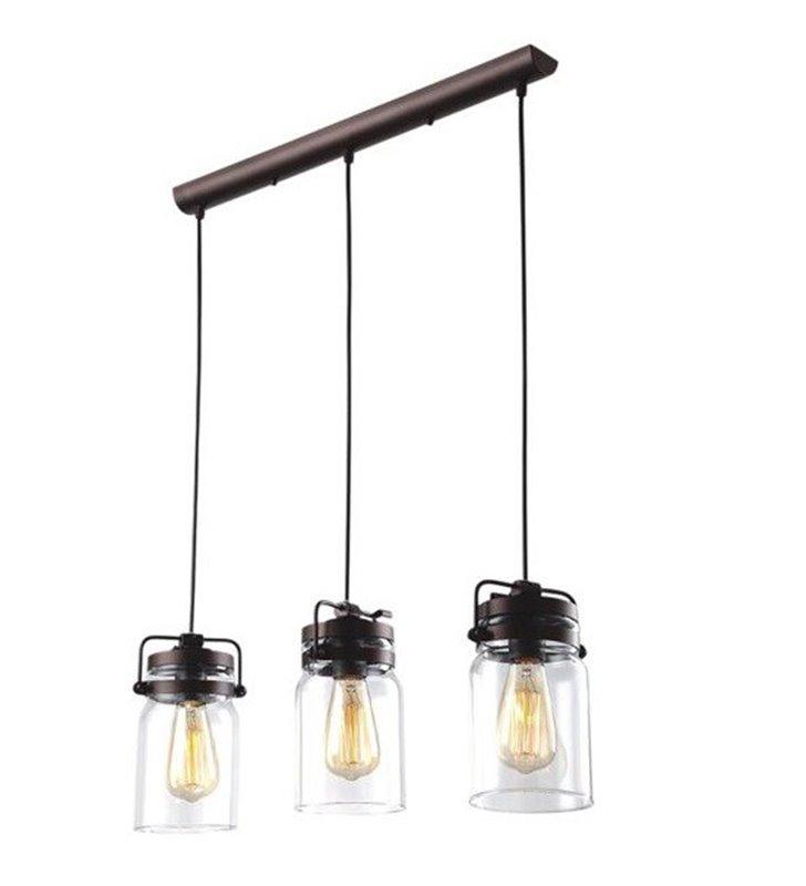Brązowa 3 zwisowa lampa wisząca na belce Raven styl vintage