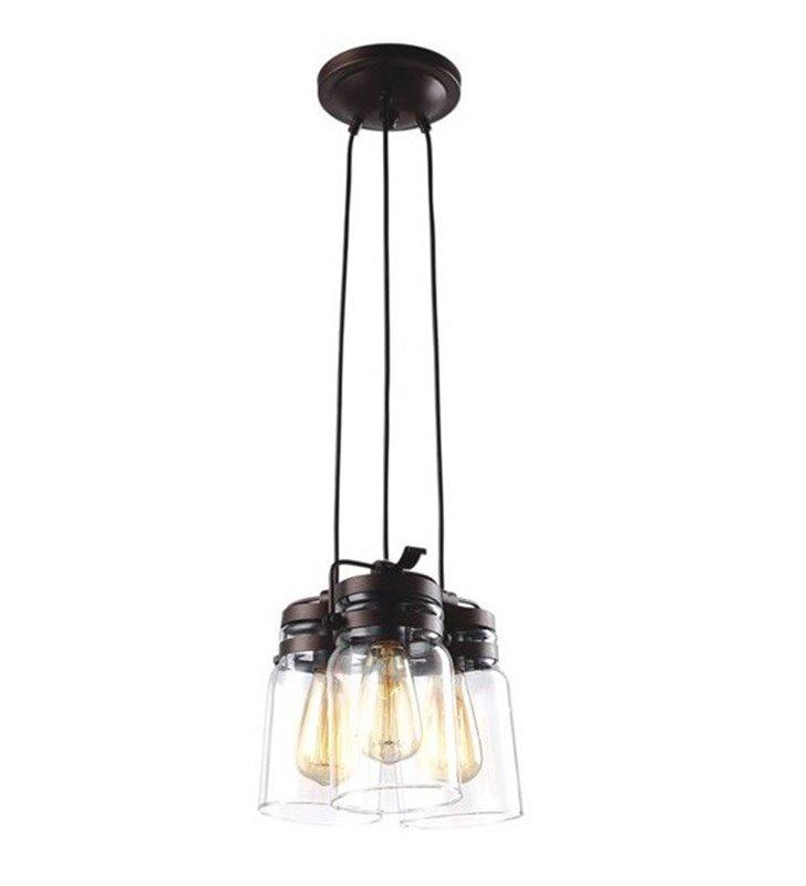 Lampa zwieszana Raven w stylu vintage 3 zwisowa mała podsufitka