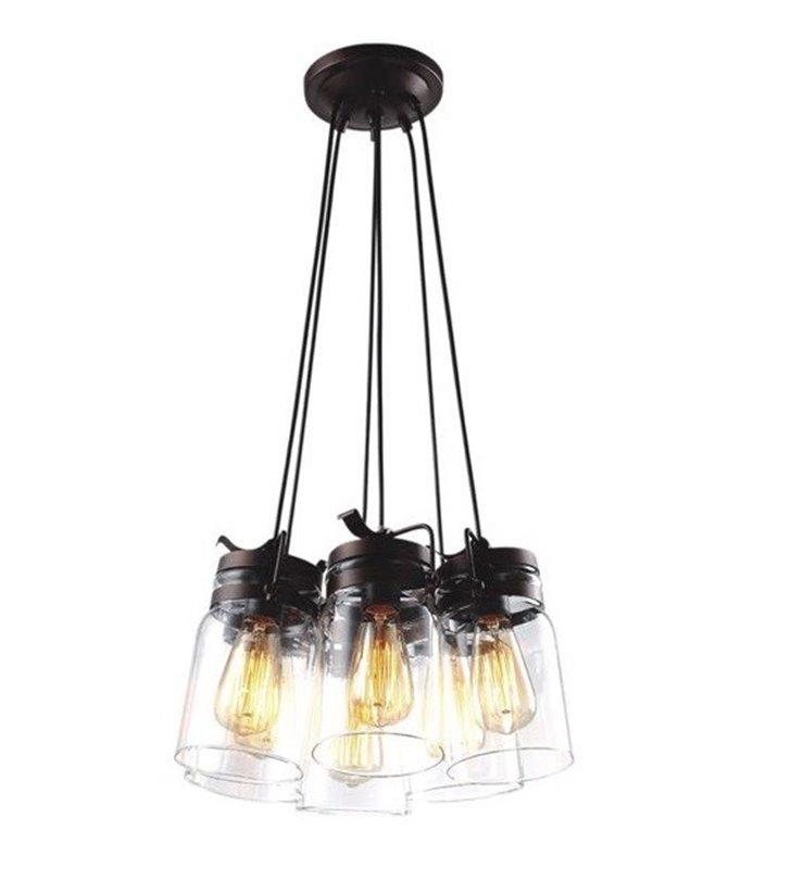 Raven 6 płomienna brązowa lampa wisząca w stylu vintage