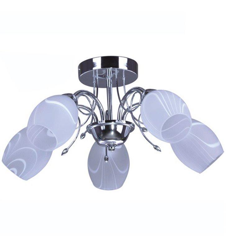 Malibu 5 punktowa lampa sufitowa krótki żyrandol bez łańcucha chrom szklane klosze