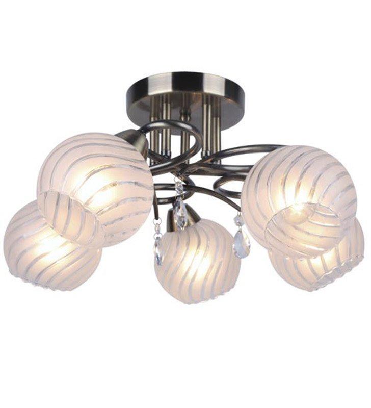 5 ramienna lampa sufitowa Dukat kolor patyna dekoracyjne kryształki