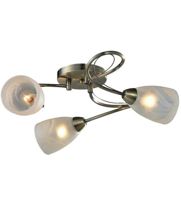 Pokojowa 3 płomienna lampa sufitowa Dario patyna szkło alabastrowe