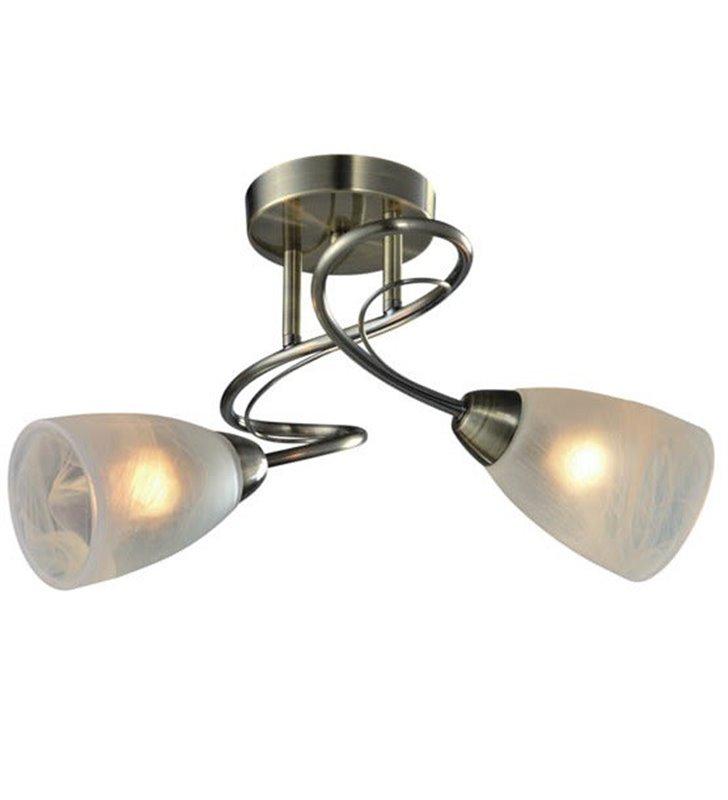 Pokojowa podwójna lampa sufitowa Dario patyna szkło alabastrowe