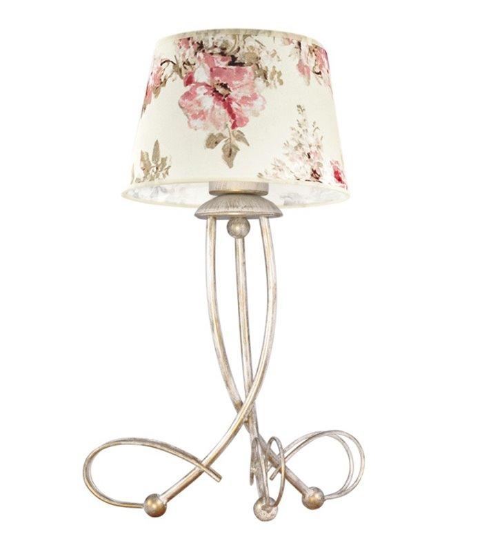 Lampa stołowa Amarti beżowo złota z abażurem w kwiaty