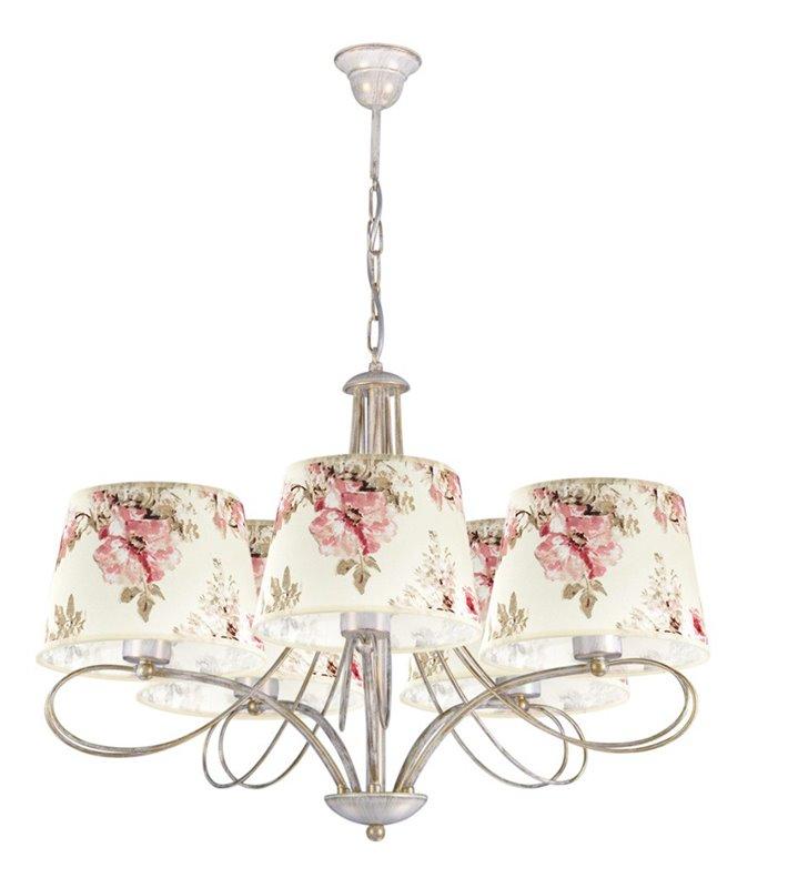 Kwiatowy żyrandol 5 ramienny beżowo złoty Amarti do salonu sypialni jadalni