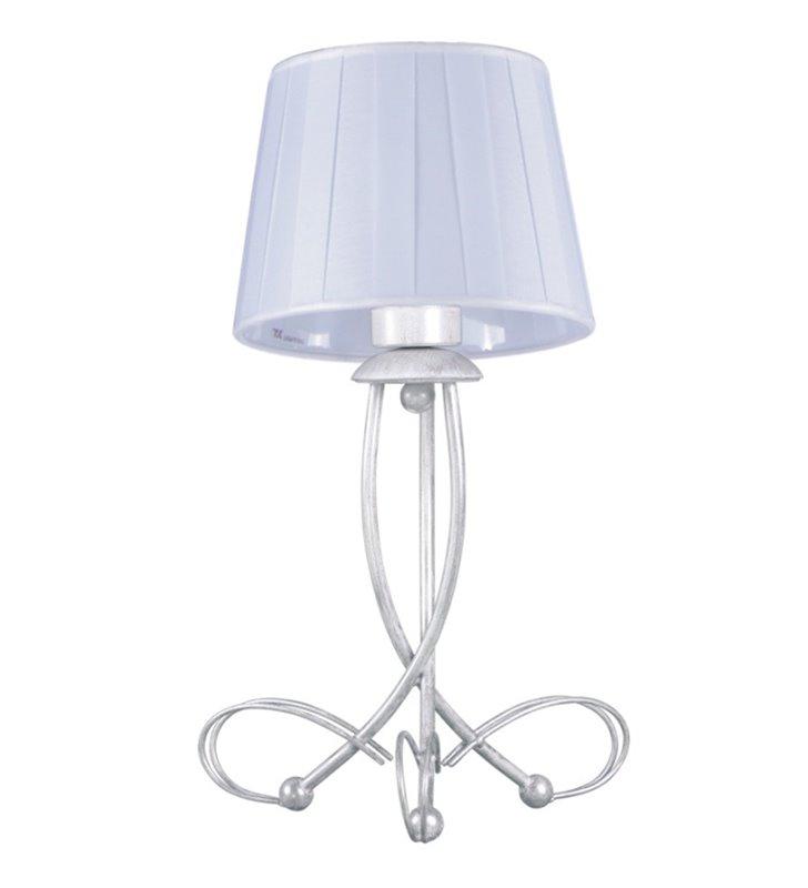 Stołowa lampa Irma podstawa biało srebrna plisowany abażur styl klasyczny
