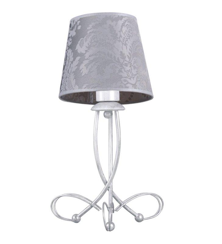 Lampa stołowa Diana klasyczna z jasną podstawą i abażurem na stolik nocny komodę
