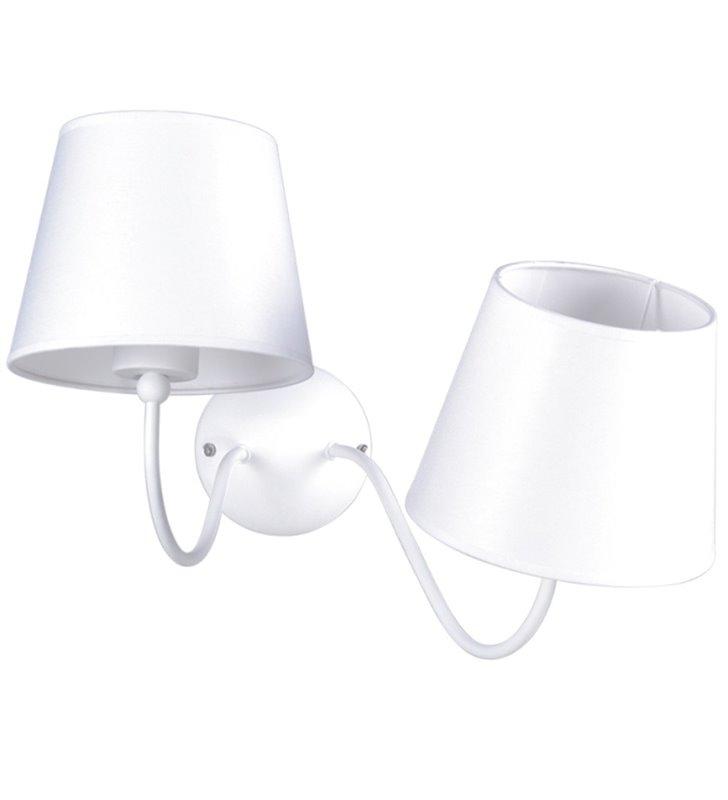 Podwójny asymetryczny biały kinkiet z abażurami Siena White