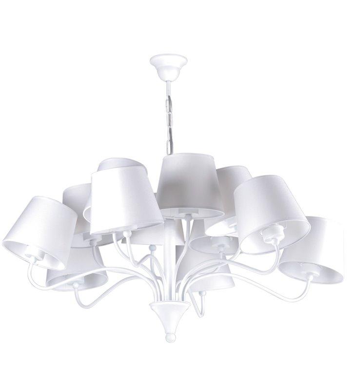 Duży biały nowoczesny żyrandol wielopunktowy z abażurami Siena White