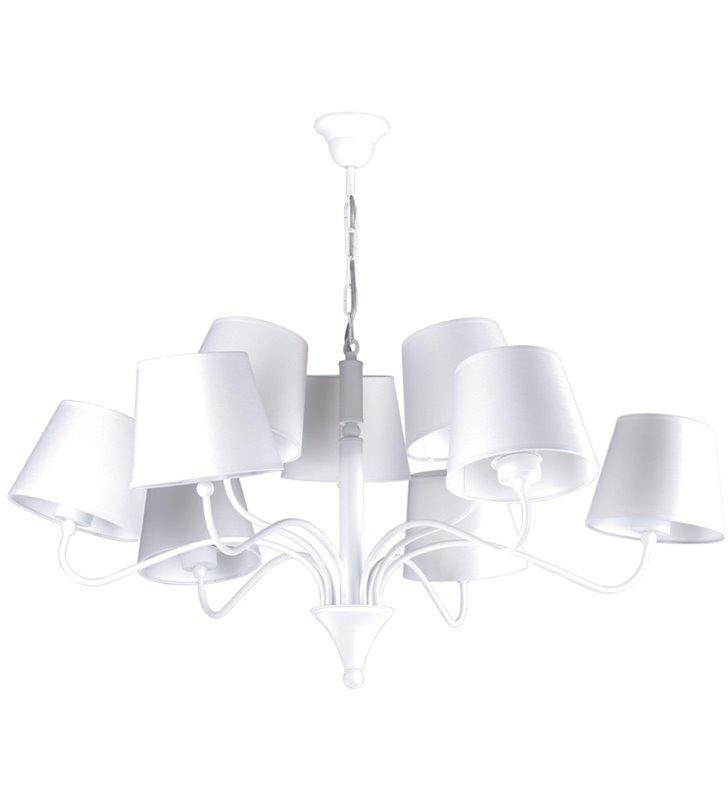 Biały nowoczesny żyrandol z abażurami Siena White 9 żarówek