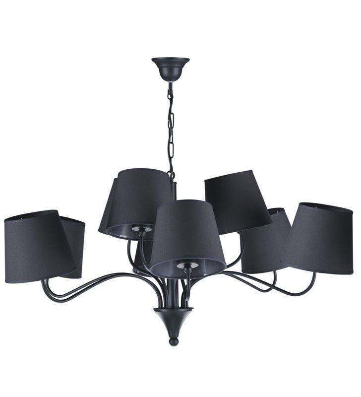 9 żarówkowy duży czarny żyrandol z abażurami Siena Black średnica 90cm do salonu sypialni jadalni restauracji