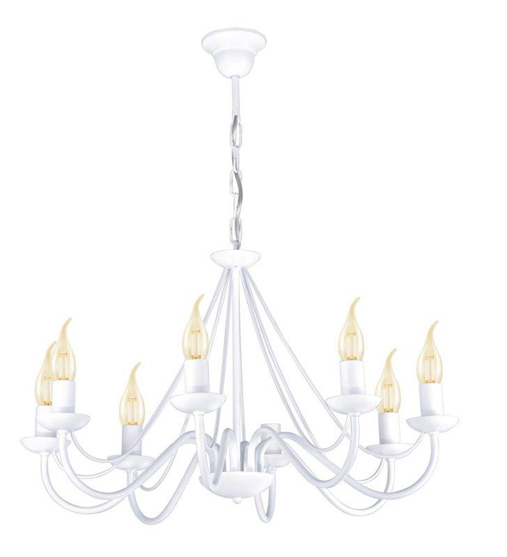 Żyrandol Bartez II biały 8 punktowy świecznikowy z łańcuchem do wnętrz klasycznych i nowoczesnych