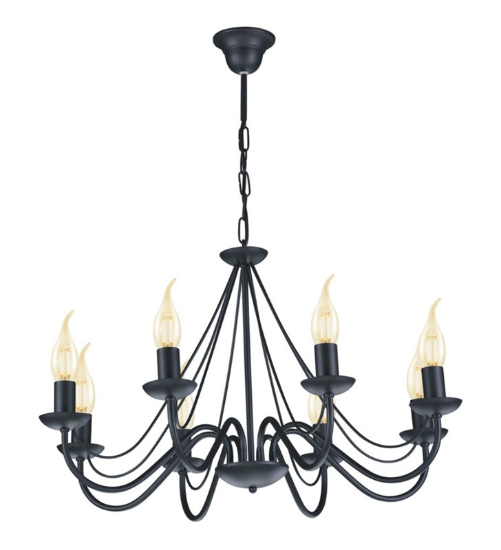 Wielopunktowy czarny żyrandol świecznikowy Bartez 8 żarówek łańcuch dużo światła