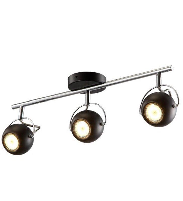 Lampa sufitowa Salva Black czarna z chromem potrójna okrągłe klosze
