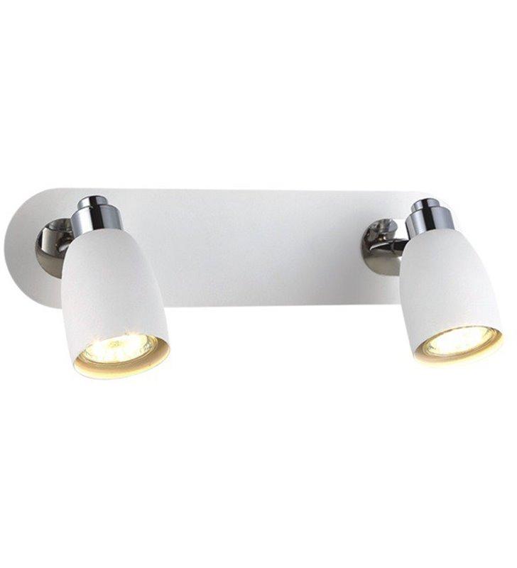 Lampa sufitowa Picardo White biała z chromowanymi detalami 2 punktowa