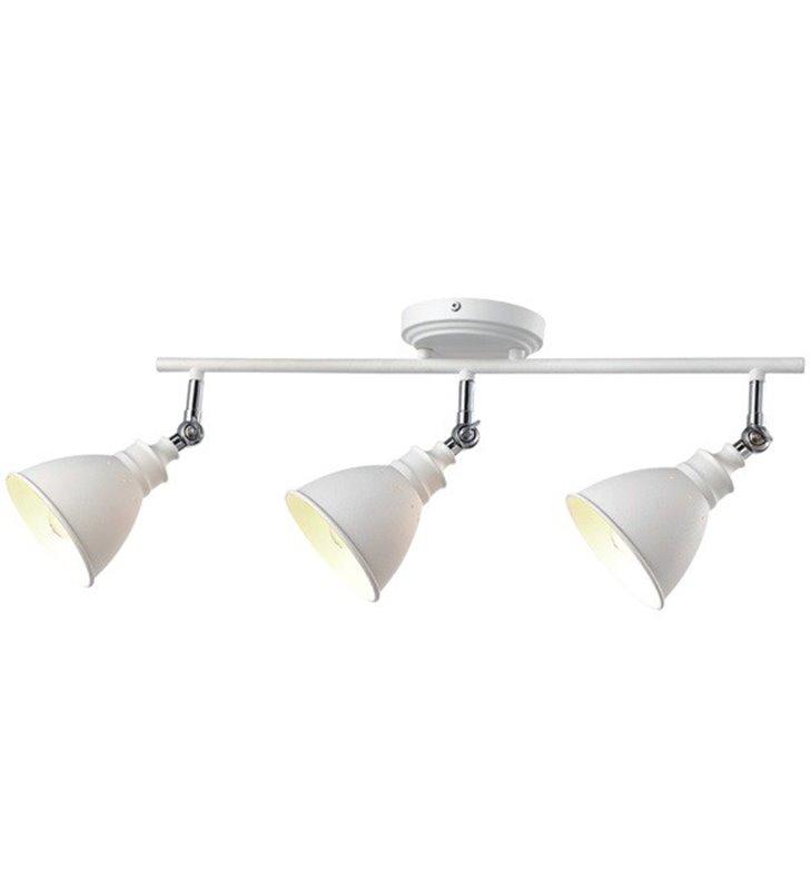 Metalowa lampa sufitowa w stylu retro vintage Watso White biała 3 żarówki