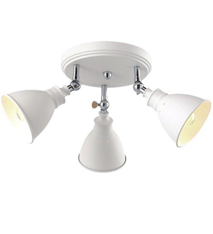 Okrągła lampa sufitowa Watso White stylu vintage retro biała potrójna