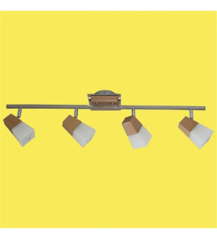 Oprawa sufitowa Zigi 4 klosze ze szkła drewniane bukowe elementy metal satyna do salonu sypialni na przedpokój