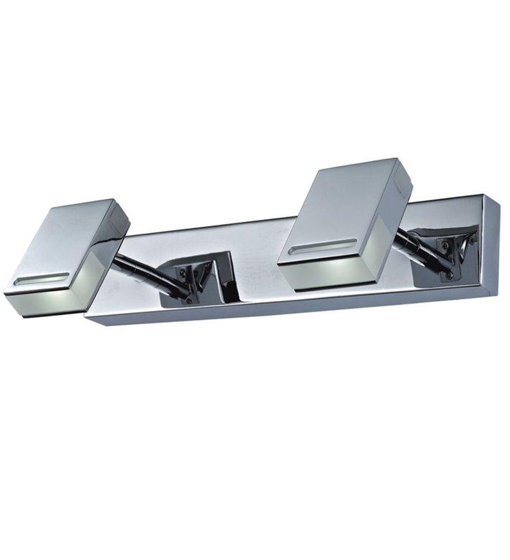 Podwójna nowoczesna lampa oświetleniowa nad lustro lub nad obraz Ledik LED chrom ruchome klosze