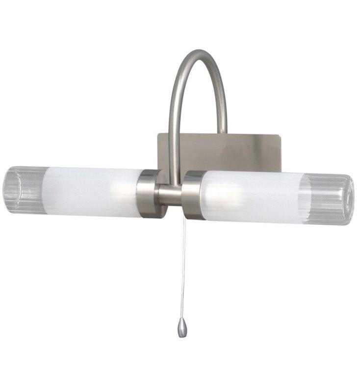 2 punktowy kinkiet nad lustro do łazienki Tiva satyna włącznik sznureczkowy