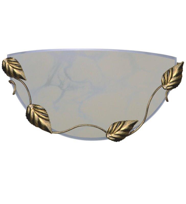Kinkiet Ulke kremowy szklany z metalowym dekorem liście