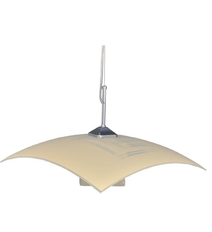 Lampa wisząca Visto Ecru szklana kuchenna klosz z dekorem kwadratowy