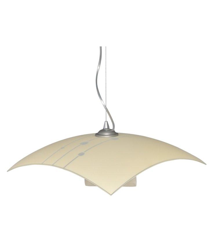 Lampa wisząca do kuchni Nuta kwadratowa szklana ecru na kloszu ozdobny wzór
