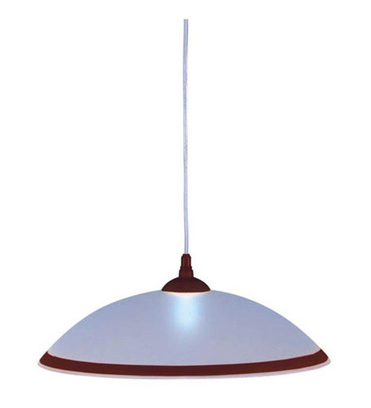 Lampa wisząca do kuchni Ufo biała okrągła z brązowym paskiem wokół klosza