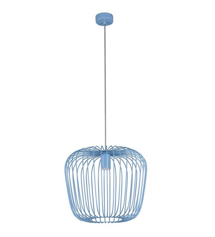 Druciana niebieska lampa wisząca Eden z widoczną żarówką np. do pokoju dziecka do jadalni salonu