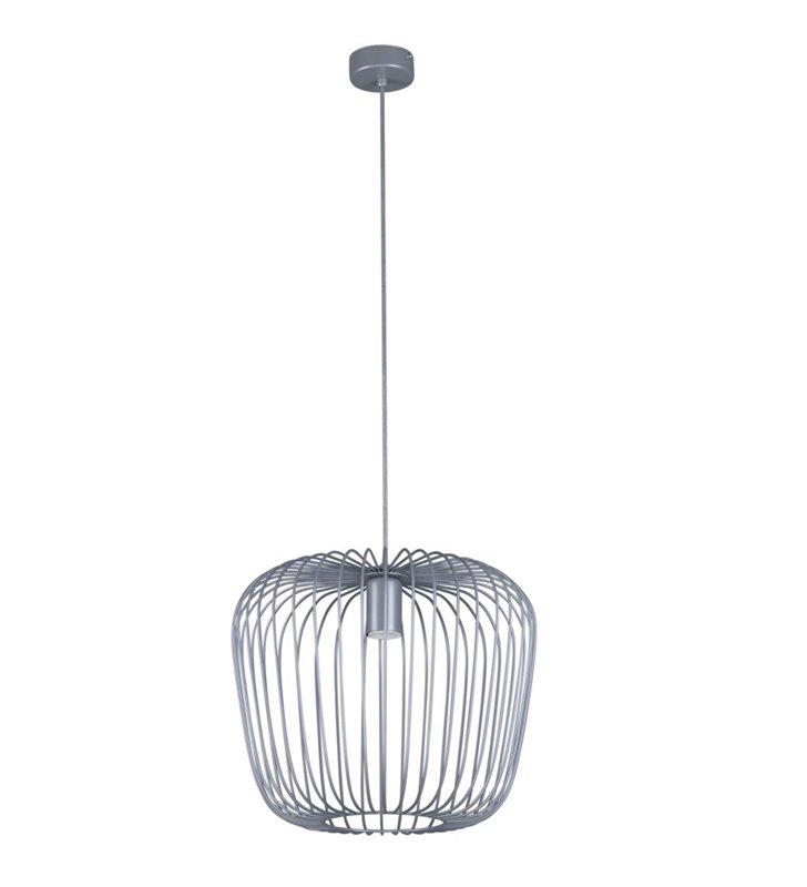Lampa wisząca Eden szara nowoczesna z drucianym kloszem
