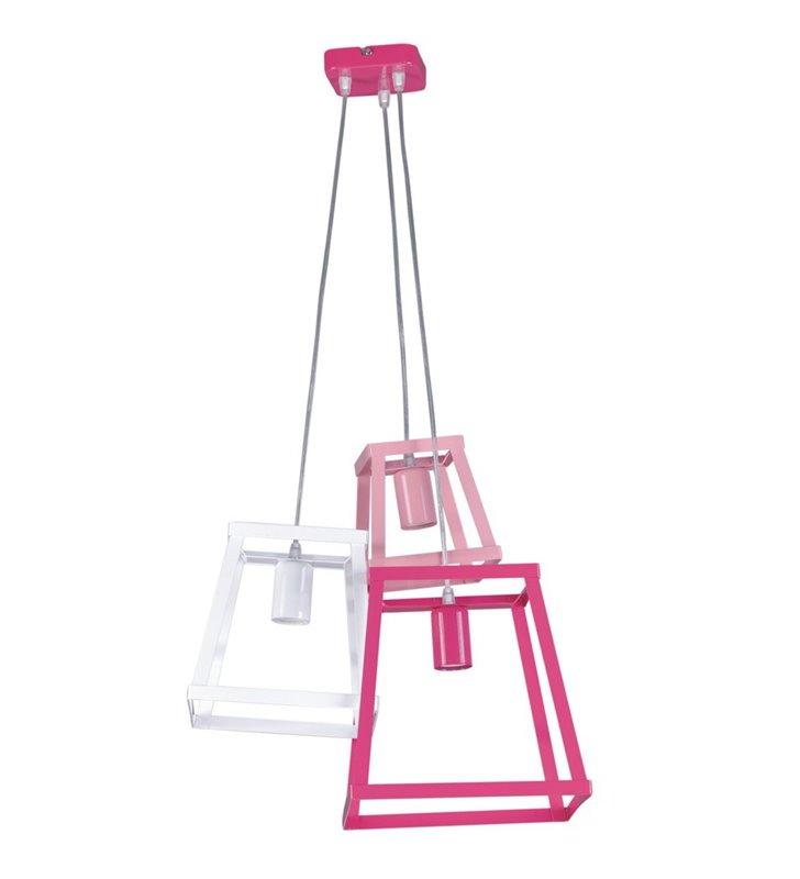 Różowo biała potrójna nowoczesna lampa wisząca Tedy dla dziewczynki nastolatki