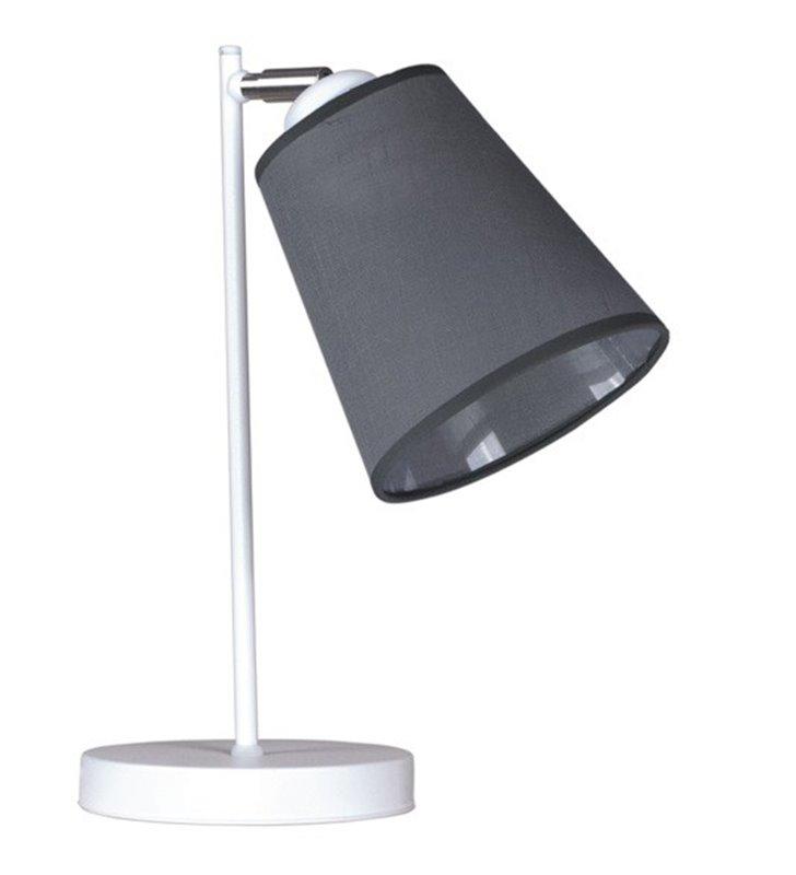 Lampa stołowa Calabria biała z szarym abażurem