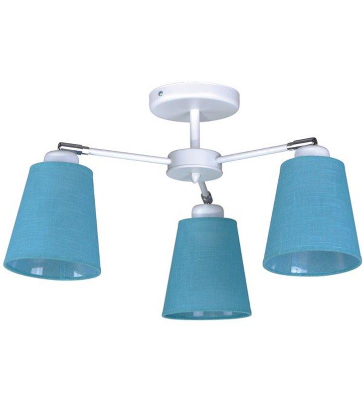 Żyrandol Filton krótki bez łańcucha biały 3 niebieskie abażury do pokoju dziecka do salonu sypialni pokoju gościnnego