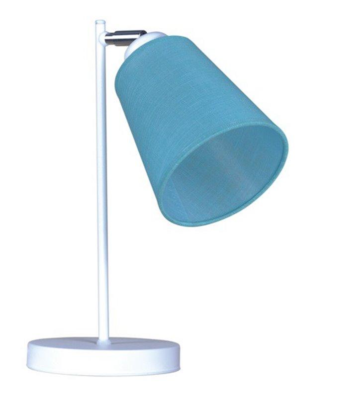 Lampa stołowa Filton biała z niebieskim abażurem